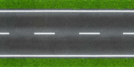 seamless infinity real street road sphalt grey black tar surface texture with green grass and white lane line boder. Traffic transportation design pattern background copy space Standard-Bild