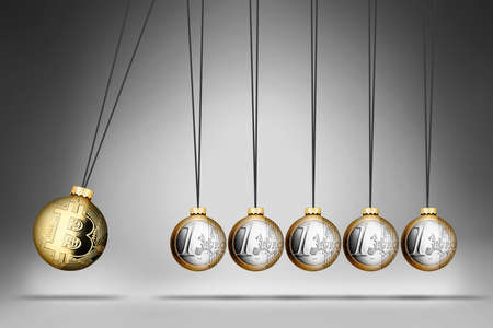 bitcoin versus euro spherical pendulum with crypto currency and traditional moneys symbol. Bitcoin revolution exchange cryptocurrency blockchain concept on gray background