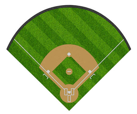 top view of  layout empty sport baseball field with diamond shaped real green realistic grass and copy space. Team sports recreation competition background