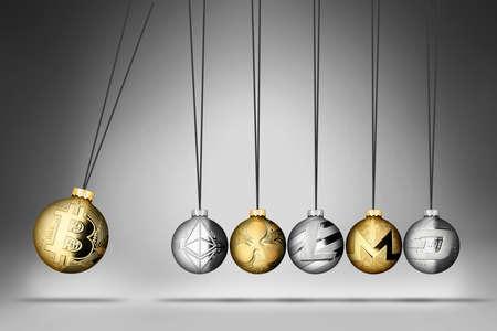 crypto currency spherical pendulum with Altcoins. Bitcoin dominance momentum exchange cryptocurrency  blockchain market concept on gray white and dark background