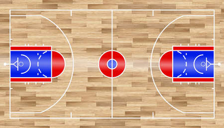 red blue white basketball court standard USA national field size with wooden indoor floor background. team basket ball sport recreation competition concept