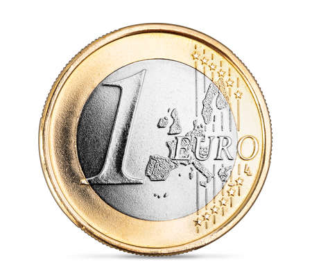 perfect new silver golden one euro coin from europe isolated on white background. european currency business financial concept