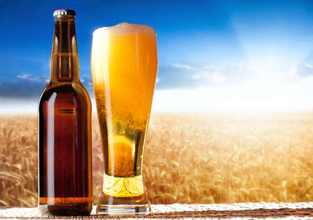 barley head: beer in a landscape Stock Photo