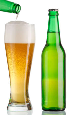 Goblet and bottle of beer