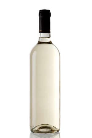 White wine bottle isolated over white background  Stock Photo