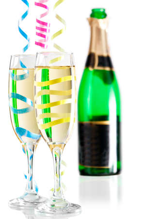 champagne flutes: Champagne flutes festive combo Stock Photo