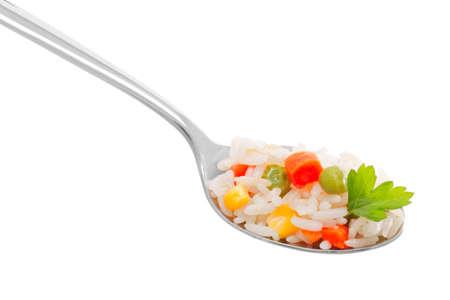 cuchara: Arroz con verduras en una cuchara