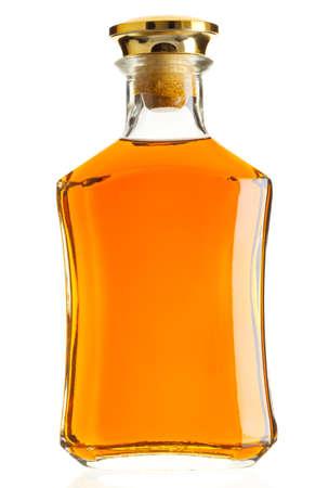 alcohol bottles: Full whiskey bottle isolated on white background