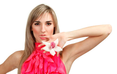 Beautiful blond girl with orchid flower isolated on white background