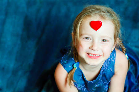 beautiful young girl with heart