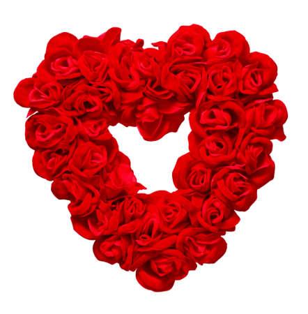 hart bloem: Valentijnsdag Rose hart op witte achtergrond
