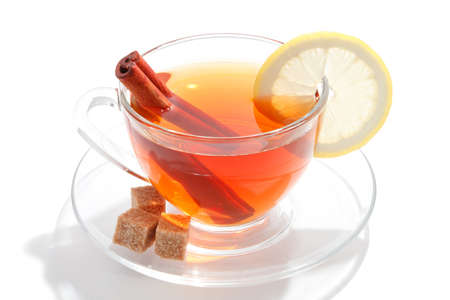 Glass cup of tea with white background Stock Photo