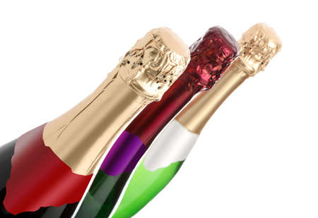three bottles of champagne on a white background