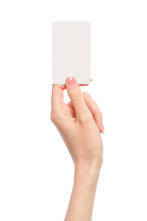 people holding sign: Female hand holding a blank business card