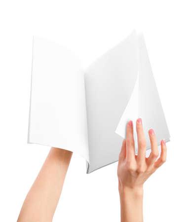 blank newspaper: Hands holding blank newspape