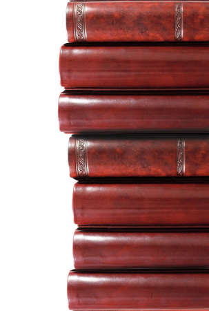 leather books on white background, partial view Stock Photo