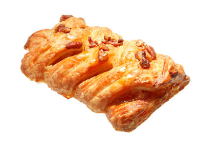puff pastry: Pecan Danish Plait isolated against white background Stock Photo