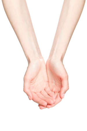 The open hands of a young woman photo