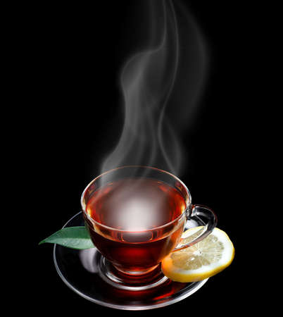 Cup of tea black background, space for text Standard-Bild
