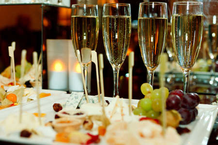 Glasses of champagne, cheese Stock Photo
