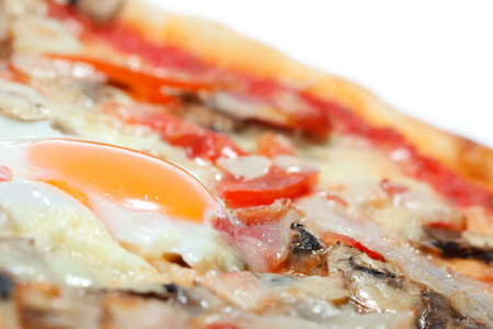 pizza with egg isolated photo