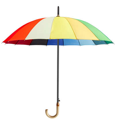 red umbrella: Colourful umbrella isolated on the white background Stock Photo