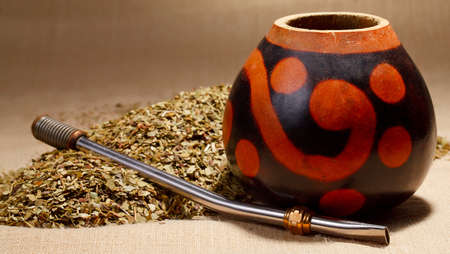 mate drink: Traditional yerba mate tea popular in latin america Stock Photo