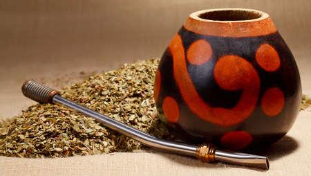 mate drink: Traditional yerba mate tea popular in latin america Stock Photo