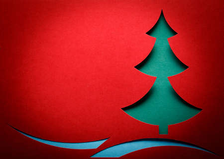 cristmas card: Christmas tree paper cutting design card
