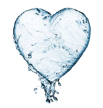 clean heart: Heart from water splash with bubbles isolated on white