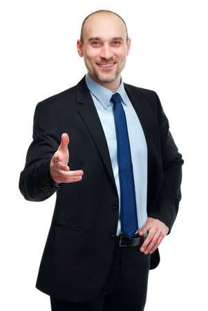 Smiling handsome business man greeting you isolated on white