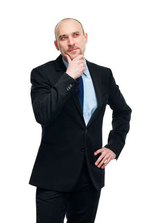 deciding: thoughtful young businessman