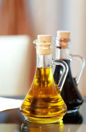 vinegar bottle: two bottles of sauce Stock Photo