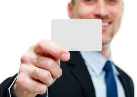 Close-up of business card in business mans hand Stock Photo