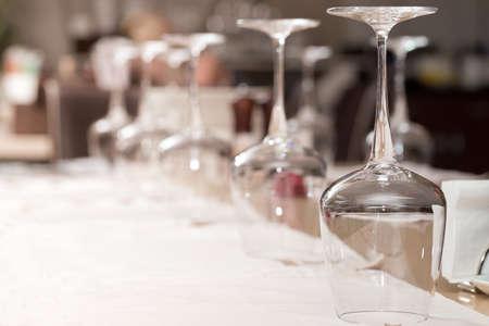 Empty glasses set in restaurant Stock Photo - 20243051