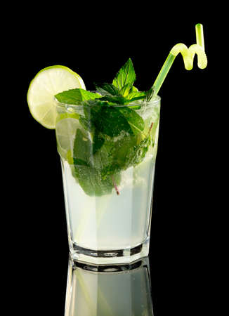 Mojito cocktail on black background Stock Photo - 20871534