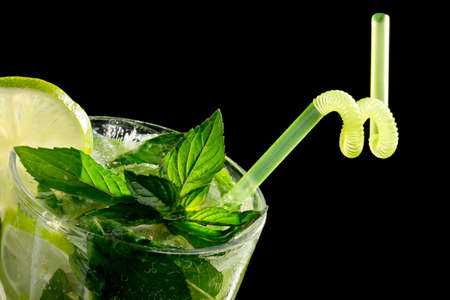 Mojito cocktail on black background Stock Photo - 20871535