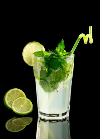 Mojito cocktail on black background Stock Photo - 20871536
