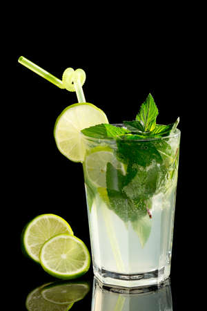 Mojito cocktail on black background Stock Photo - 20871537