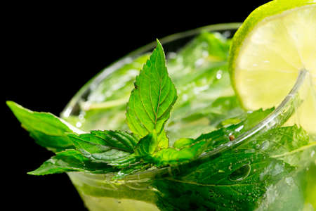 Mojito cocktail on black background Stock Photo
