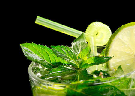 Mojito cocktail on black background Stock Photo - 20871545