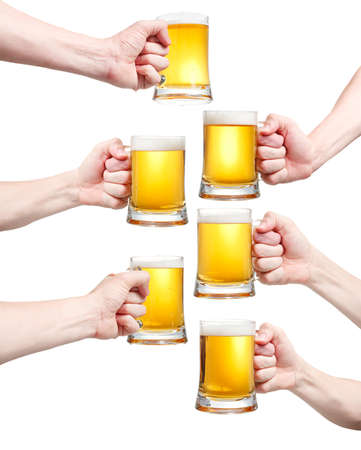 Set, closeup of a male hand holding up a glass of beer over a white background Stock Photo - 20903336