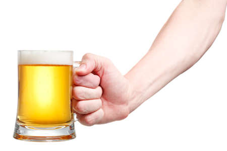 Closeup of a male hand holding up a glass of beer over a white background Stock Photo - 20903355