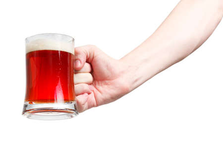 Closeup of a male hand holding up a glass of beer over a white background Stock Photo - 20903362