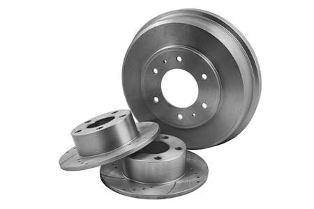 New car brake disks isolated on white background. Clipping path included.