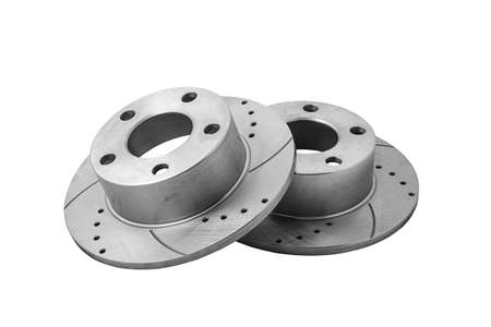 Two new car brake disks isolated on white background. Clipping path included. Stock Photo