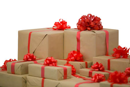 Box with gifts and red bow Stock Photo