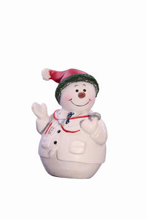 Christmas doctor snowman on a white background photo