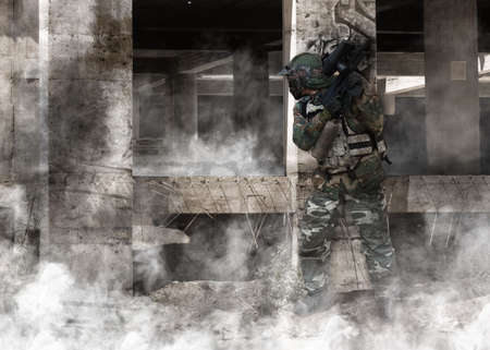 buidings: paintball player train and occupy buidings and structures.  Stock Photo