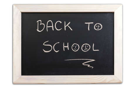 small school blackboard whit chalk drawing isolated on white background Stock Photo - 6502023